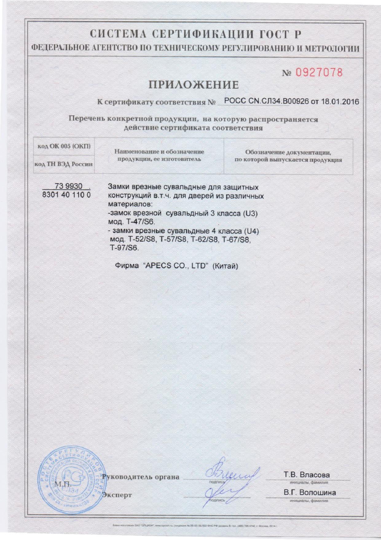 Приложение к сертификату на сувальдные замки