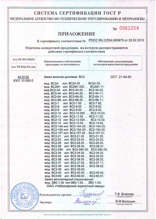 Приложение к сертификату на замки